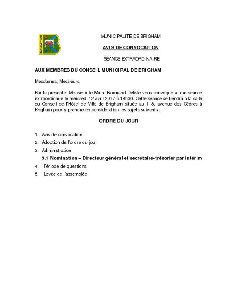 thumbnail of AVIS DE CONVOCATION 2017-04-12 – SÉANCE EXTRAORDINAIRE