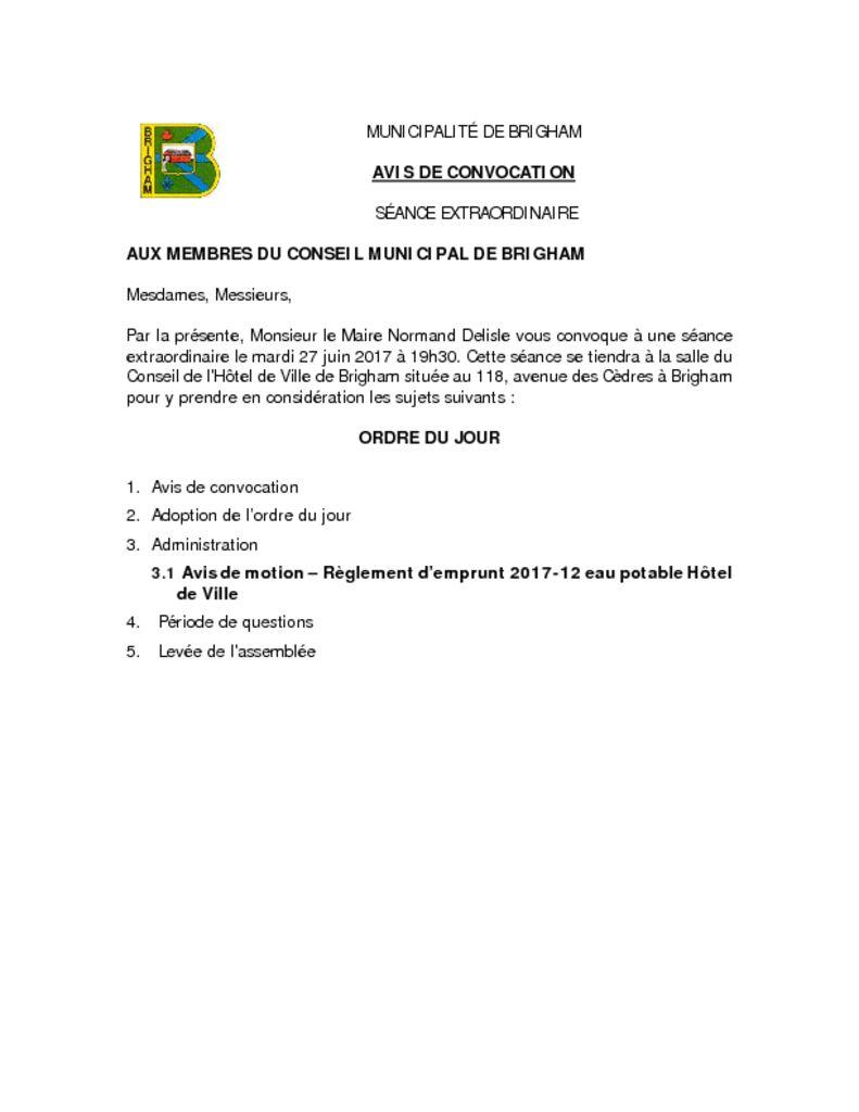 thumbnail of AVIS DE CONVOCATION 2017-06-27 – SÉANCE EXTRAORDINAIRE