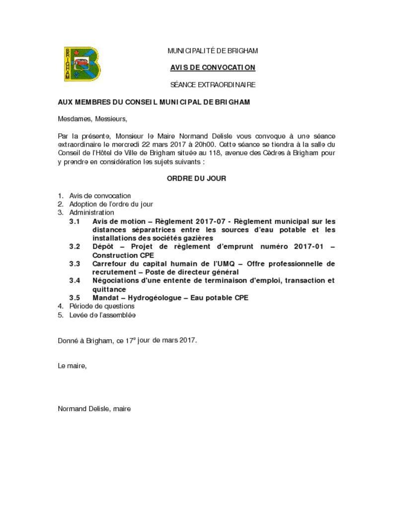 thumbnail of AVIS DE CONVOCATION SÉANCE EXTRAORDINAIRE 2017-03-22