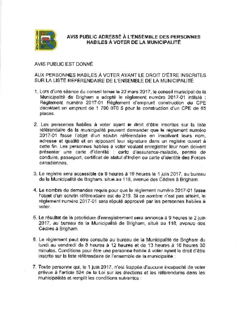 thumbnail of AVIS PUBLIC ADRESSÉ À LENSEMBLE DES PERSONNES HABILES À VOTER DE LA MUNICIPALITÉ