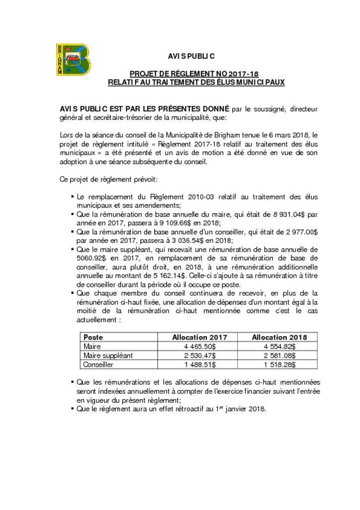 thumbnail of AVIS PUBLIC – Projet de règlement 2017-18 traitement des élus municipaux