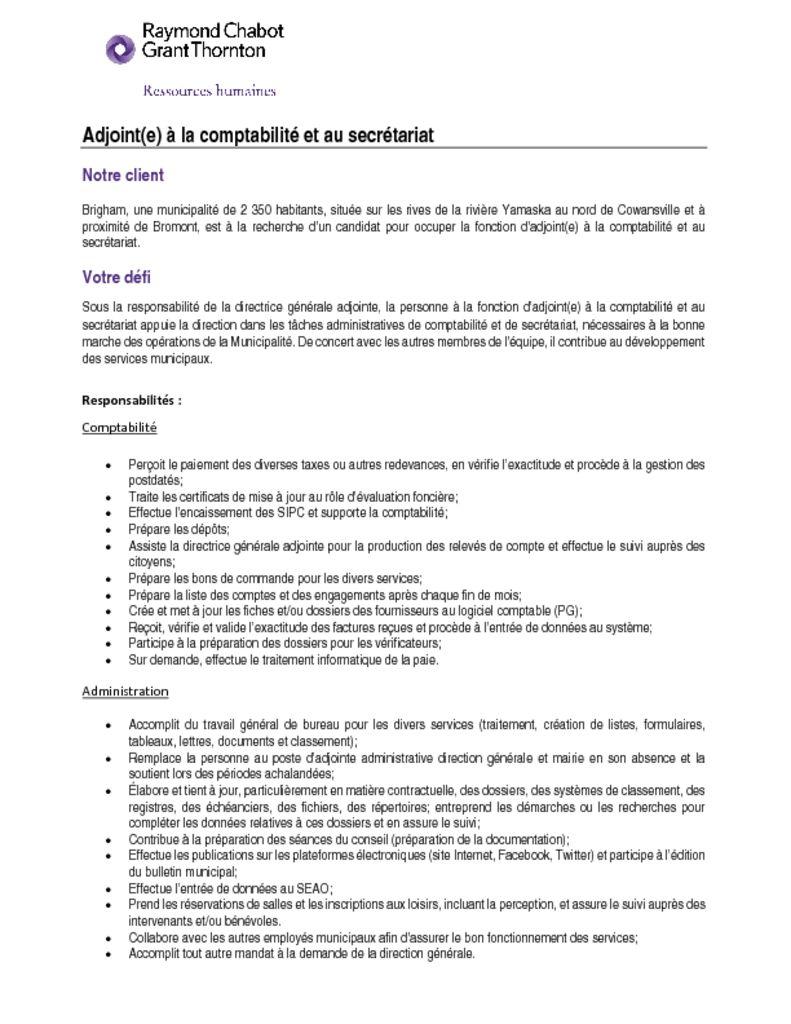 thumbnail of Adjointe a la comptabilite et au secretariat