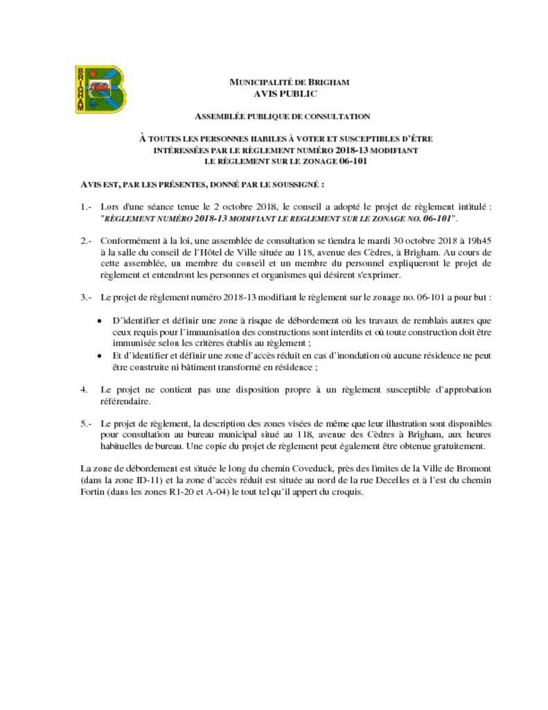thumbnail of Avis – Assemblée de consultation 2018-13