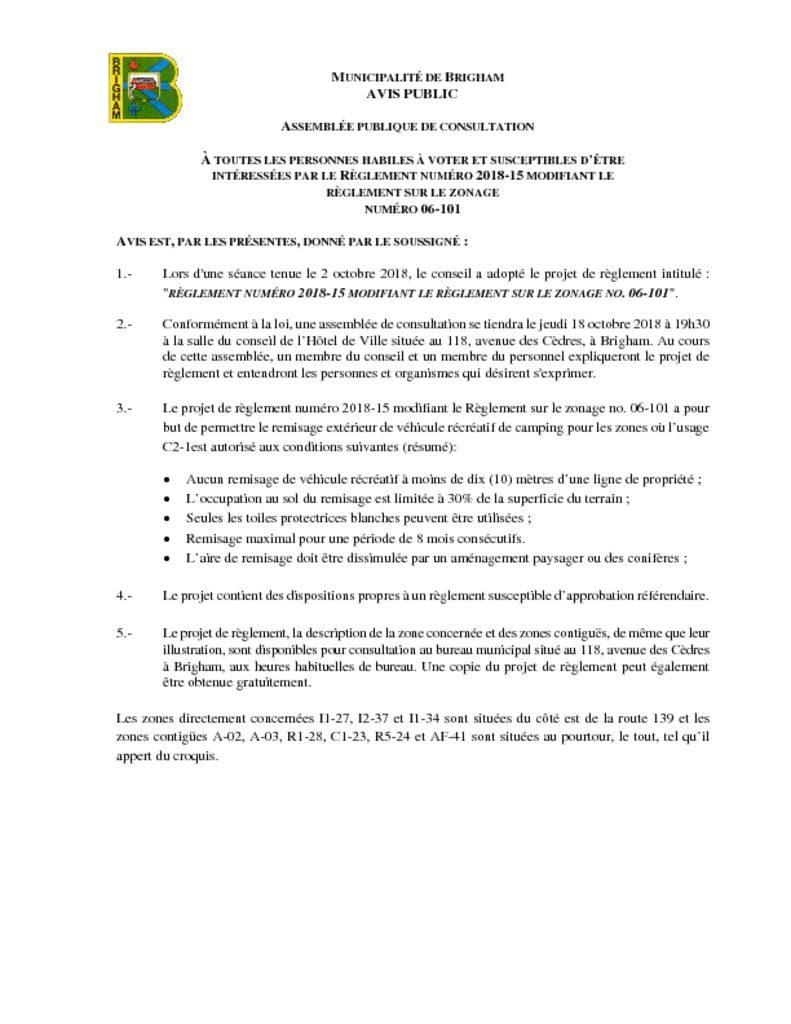 thumbnail of Avis – Assemblée de consultation 2018-15