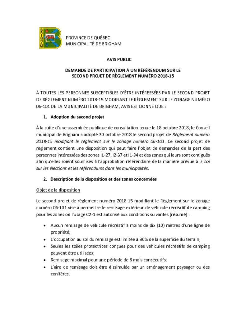 thumbnail of Avis – Demande de participation à un référendum 2018-15