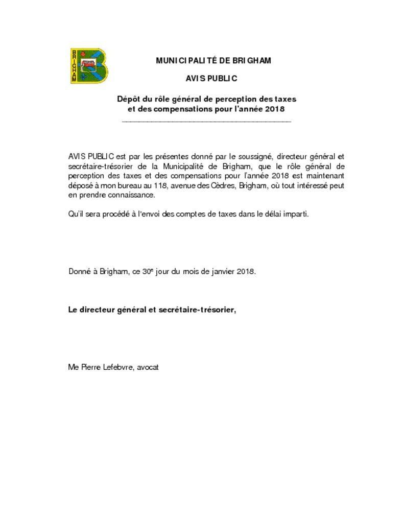 thumbnail of Avis dépôt du rôle de perception des taxes 2018