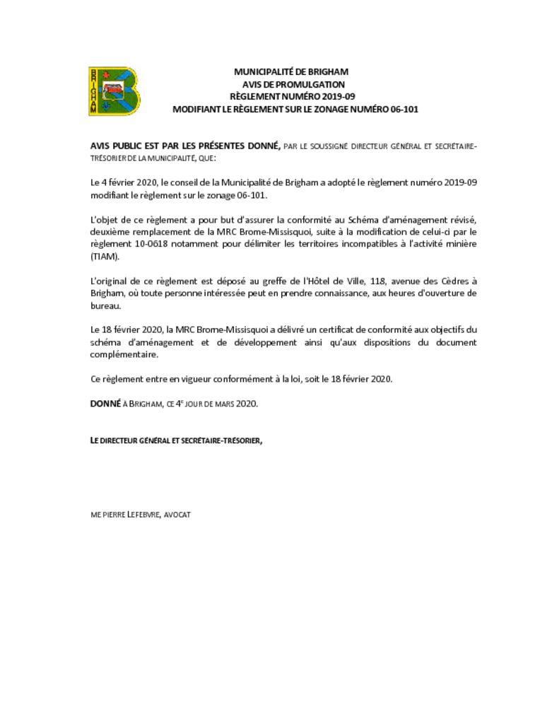 thumbnail of Avis de promulgation 2019-09