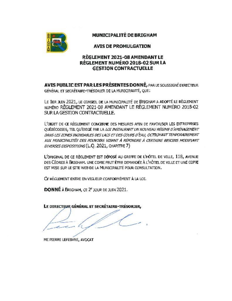 thumbnail of Avis de promulgation 2021-08