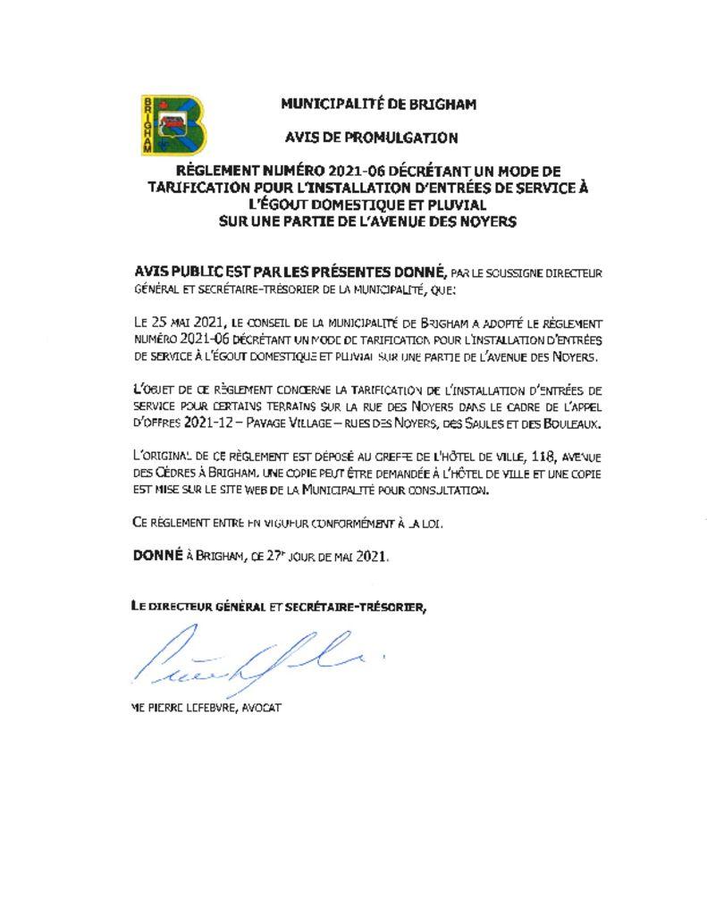 thumbnail of Avis de promulgation – Règlement numéro 2021-06