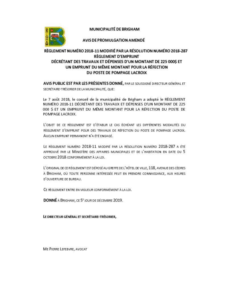 thumbnail of Avis de promulgation amendé – 2018-11