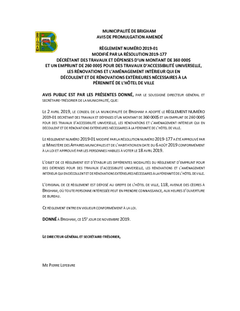 thumbnail of Avis de promulgation modifié
