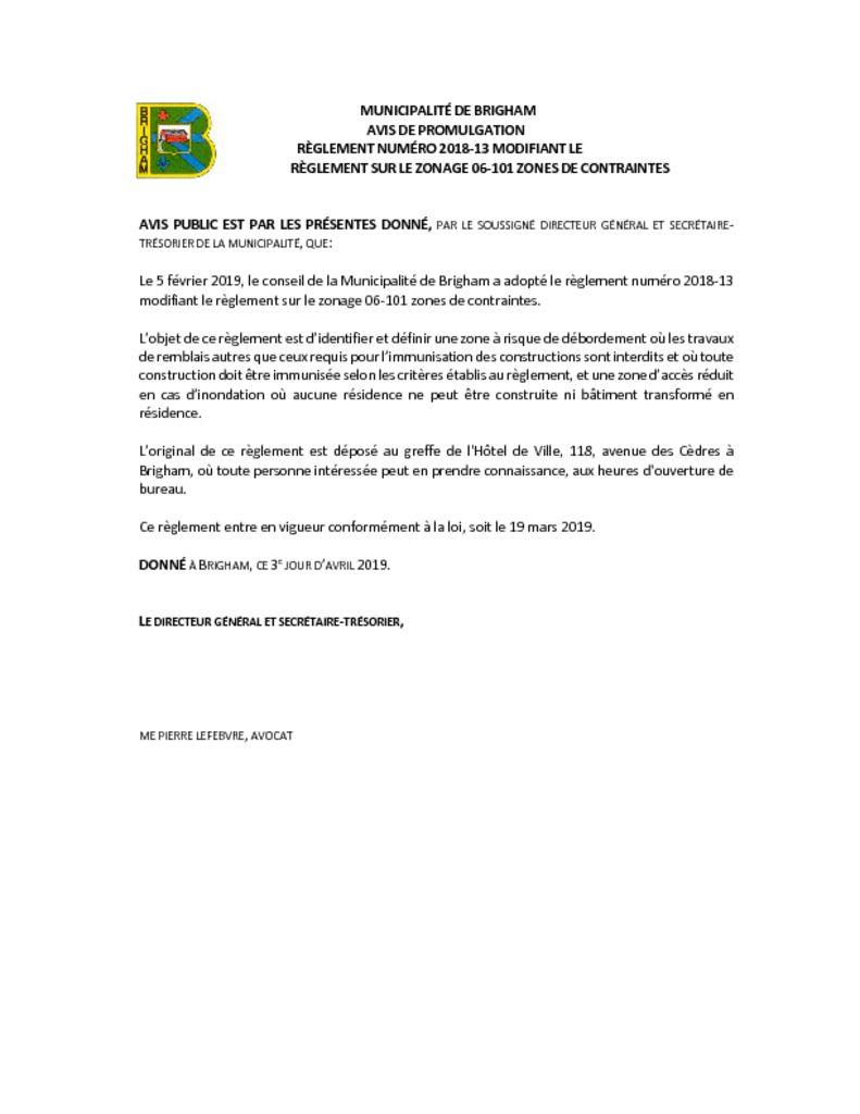 thumbnail of Avis de promulgation règl. 2018-13