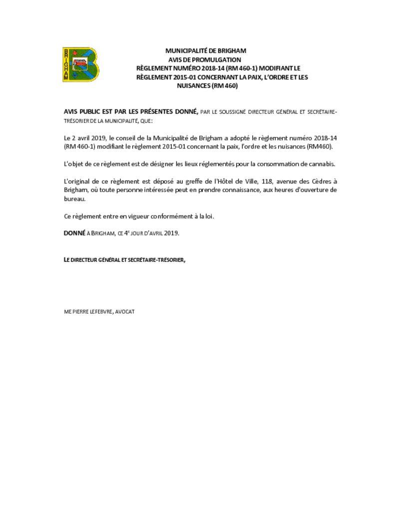 thumbnail of Avis de promulgation règl. 2018-14