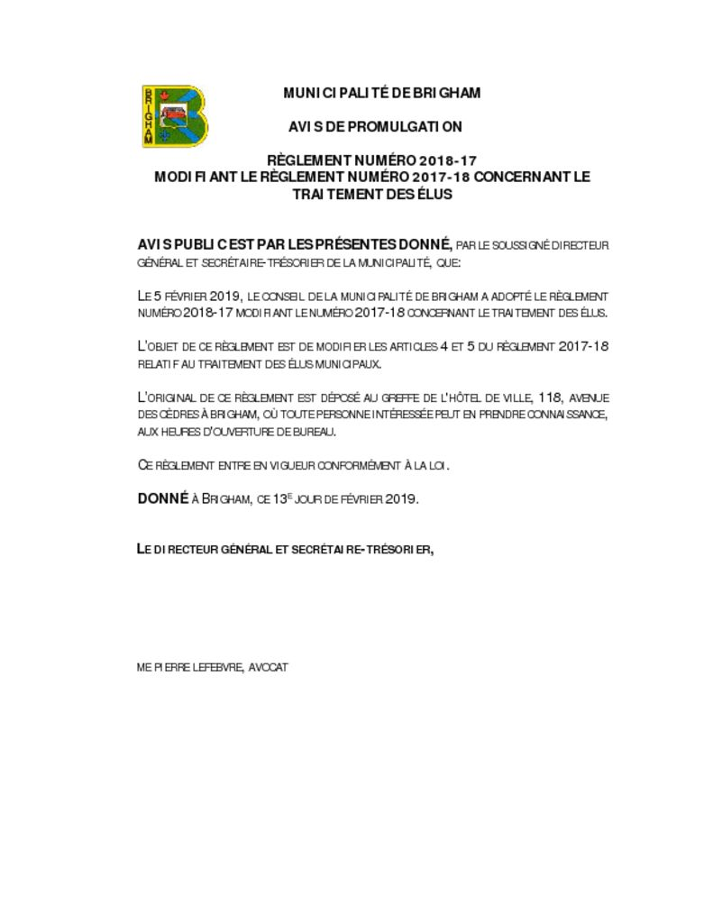 thumbnail of Avis de promulgation règlement 2018-17