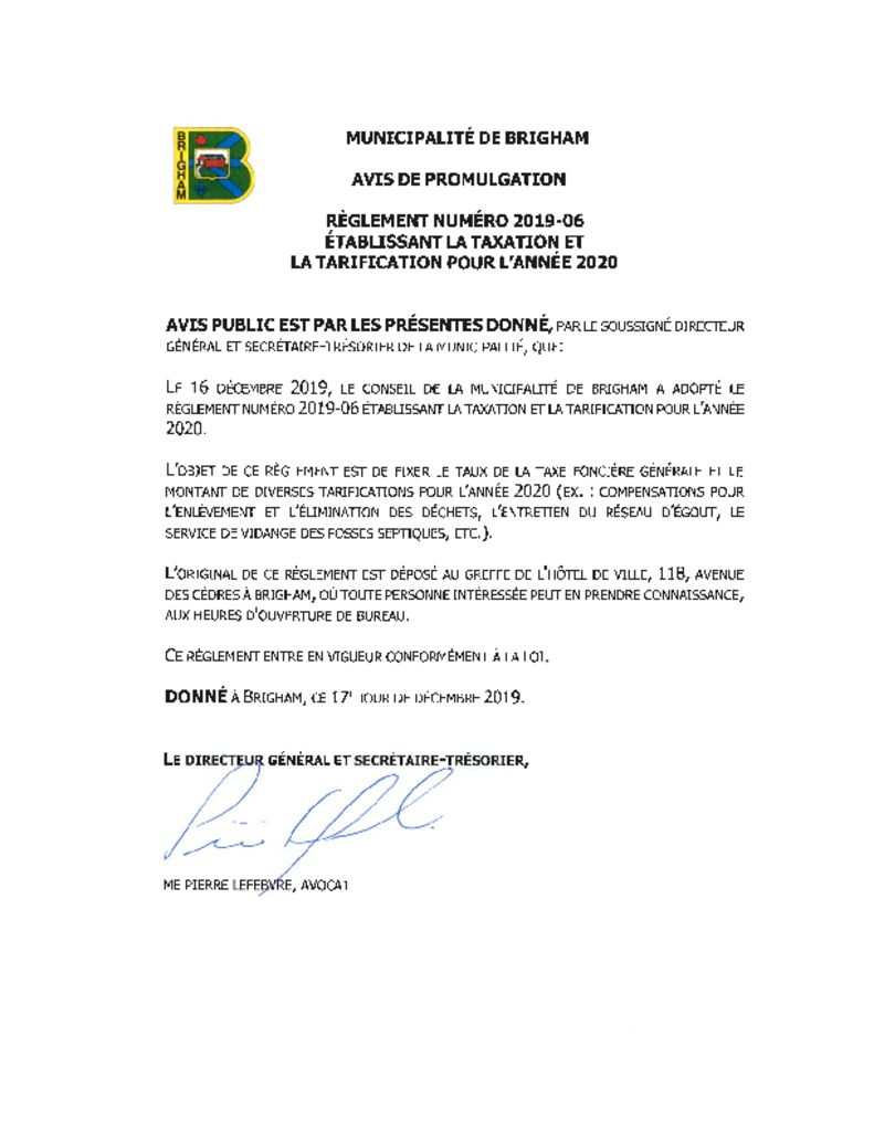 thumbnail of Avis promulgation – regl. 2019-06
