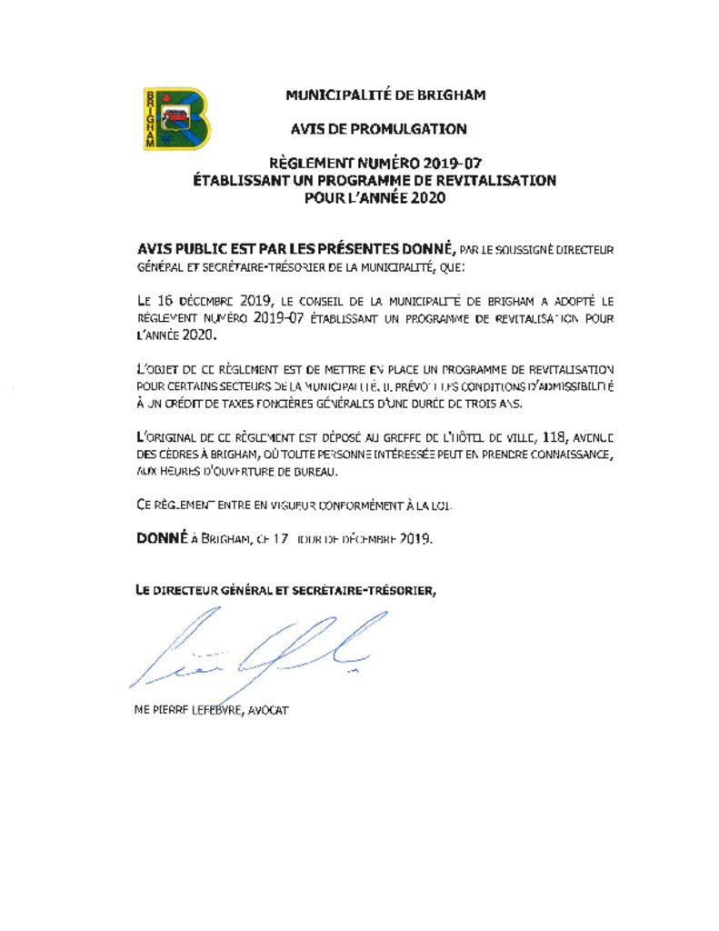thumbnail of Avis promulgation – regl. 2019-07