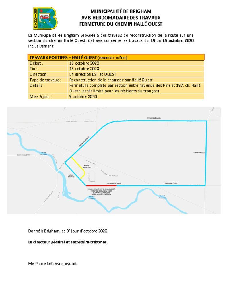 thumbnail of Avis public 2 – Interventions variées Hallé Ouest – 13 au 16 octobre 2020