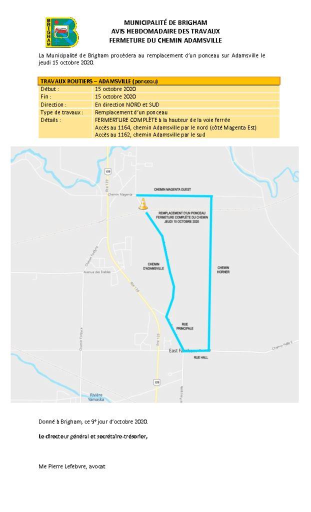 thumbnail of Avis public 3 – Interventions variées Adamsville – 13 au 16 octobre 2020