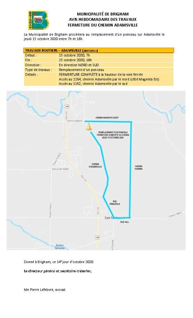 thumbnail of Avis public 3 – Interventions variées Adamsville – 15 octobre 2020