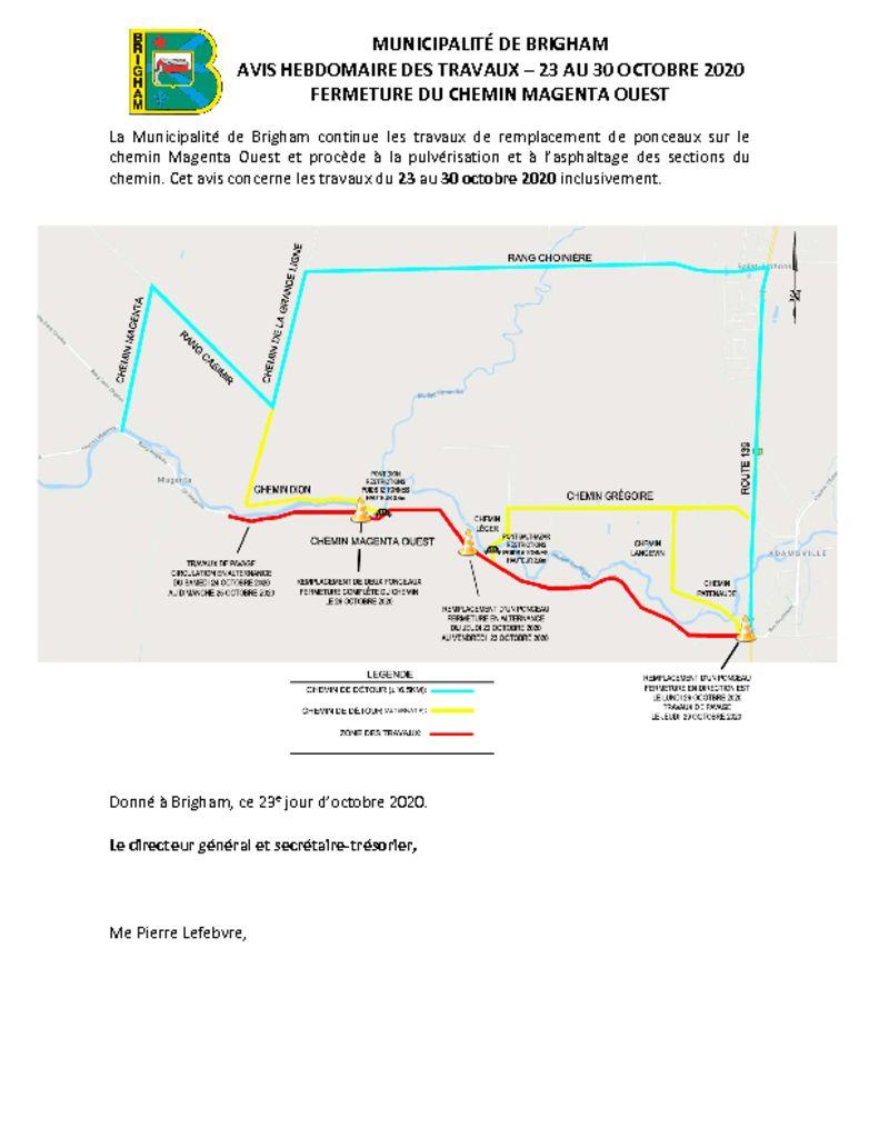 thumbnail of Avis public 8 – Fermeture chemin – Magenta O – 23 au 30 oct. 2020