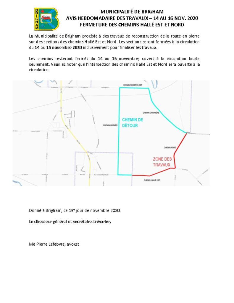 thumbnail of Avis public 9 – Interventions variées Hallé Est – 14 novembre au 16 novembre 2020