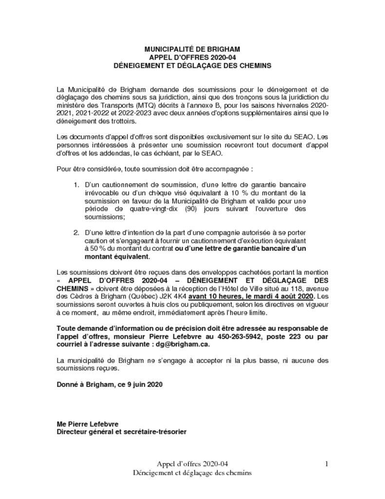 thumbnail of Avis public – Appel doffres 2020-04 Déniegement et déglaçage des chemins