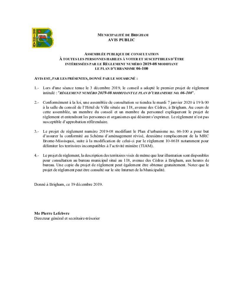 thumbnail of Avis public – Assemblée publique de consultation règl. 2019-09