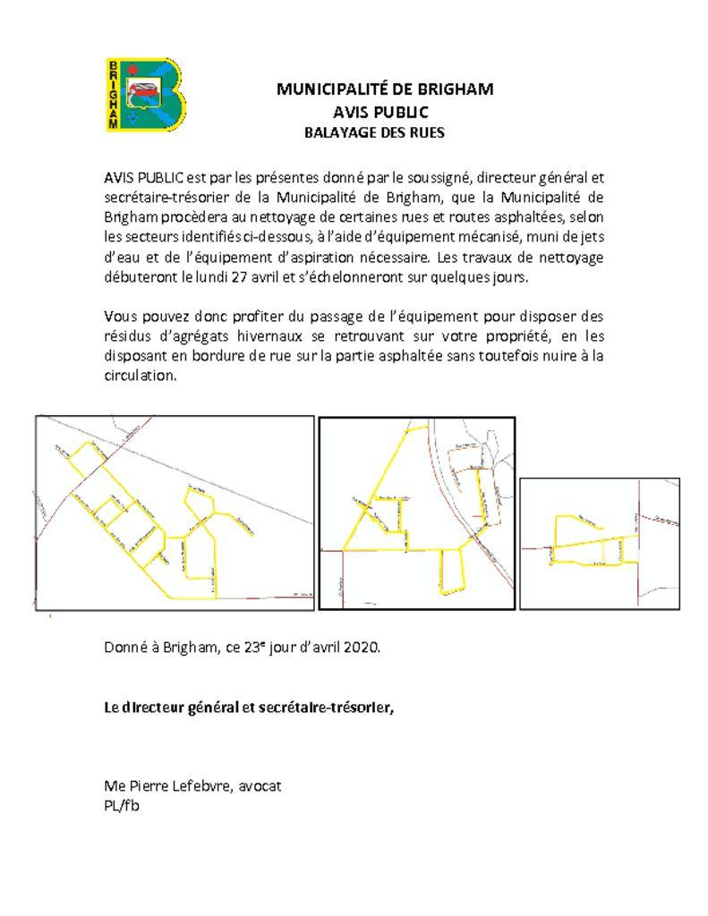 thumbnail of Avis public – Balayage des rues
