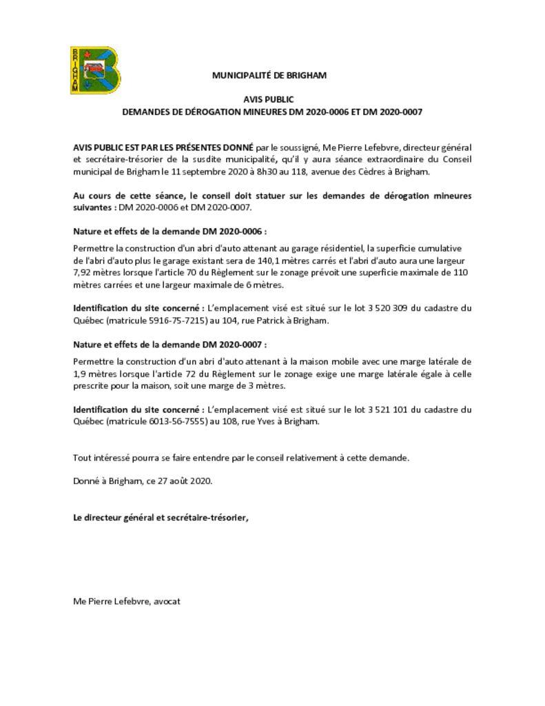 thumbnail of Avis public – Dérogation mineure 2020-0006 et 2020-0007