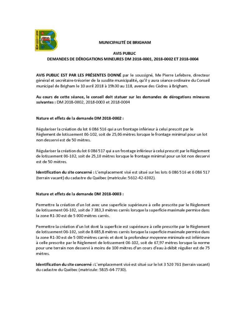 thumbnail of Avis public – Dérogation mineure 2018-0002 2018-0003 et 2018-0004