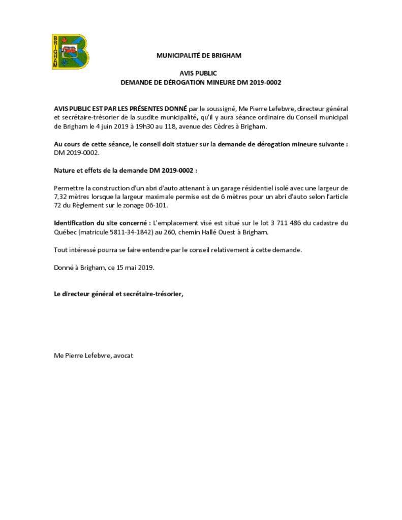 thumbnail of Avis public – Dérogation mineure 2019-0002