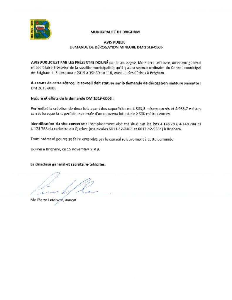 thumbnail of Avis public – Dérogation mineure DM2019-0006