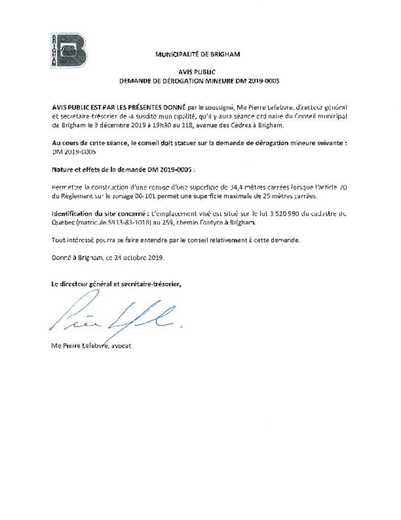 thumbnail of Avis public – Demande de dérogation mineure DM2019-0005