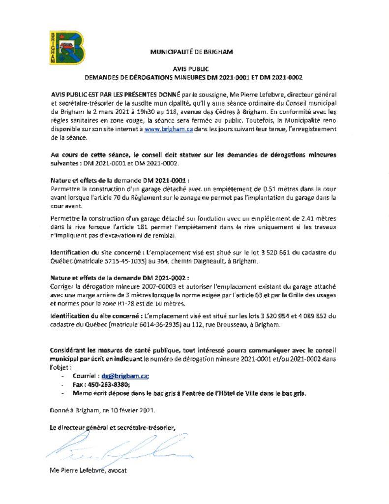 thumbnail of Avis public – Demandes de derogations mineures DM 2021-0001 et 2021-0002