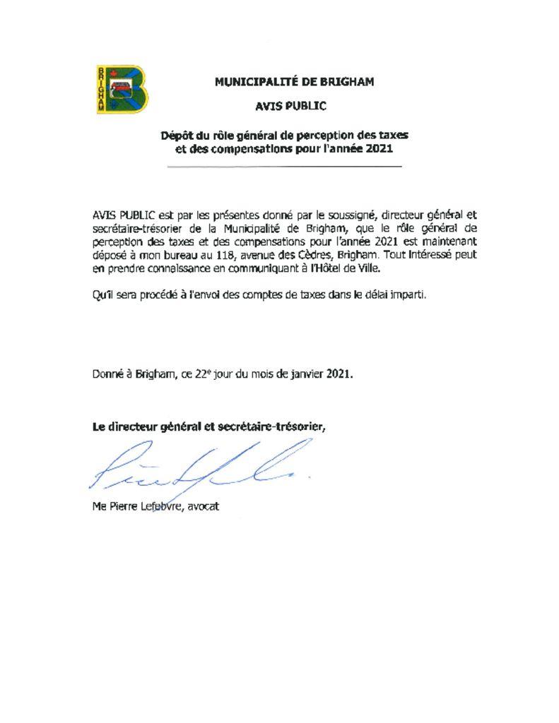 thumbnail of Avis public – Depot du role general de perception des taxes 2021