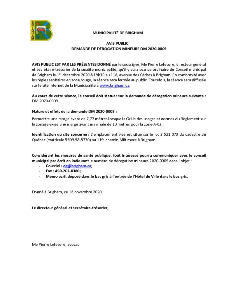 thumbnail of Avis public – Dérogation mineure 2020-0009