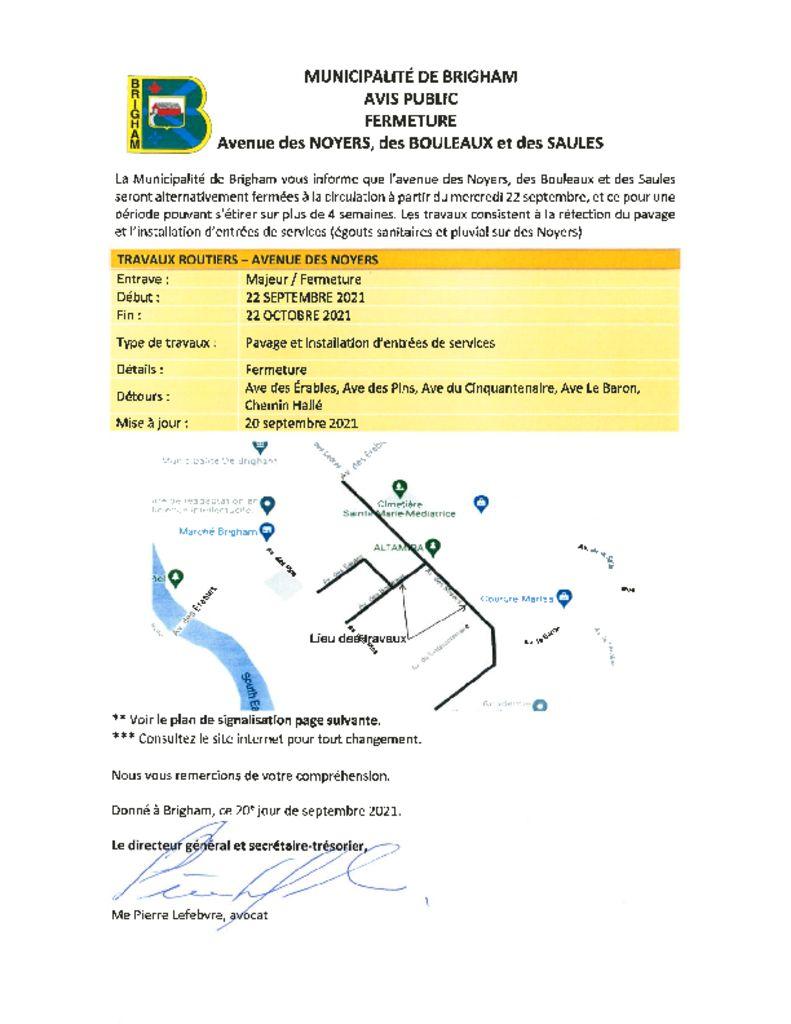 thumbnail of Avis public – Fermeture Avenues des Noyers, Bouleaux et des Saules 20-09-2021