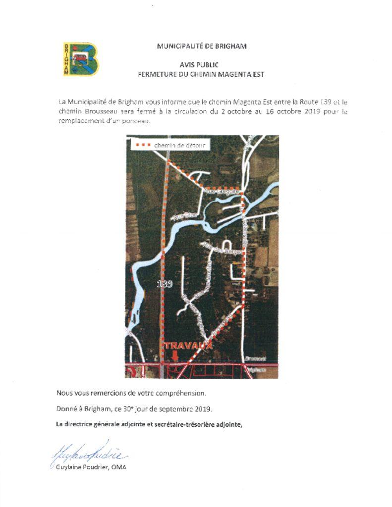 thumbnail of Avis public – Fermeture chemin Magenta Est