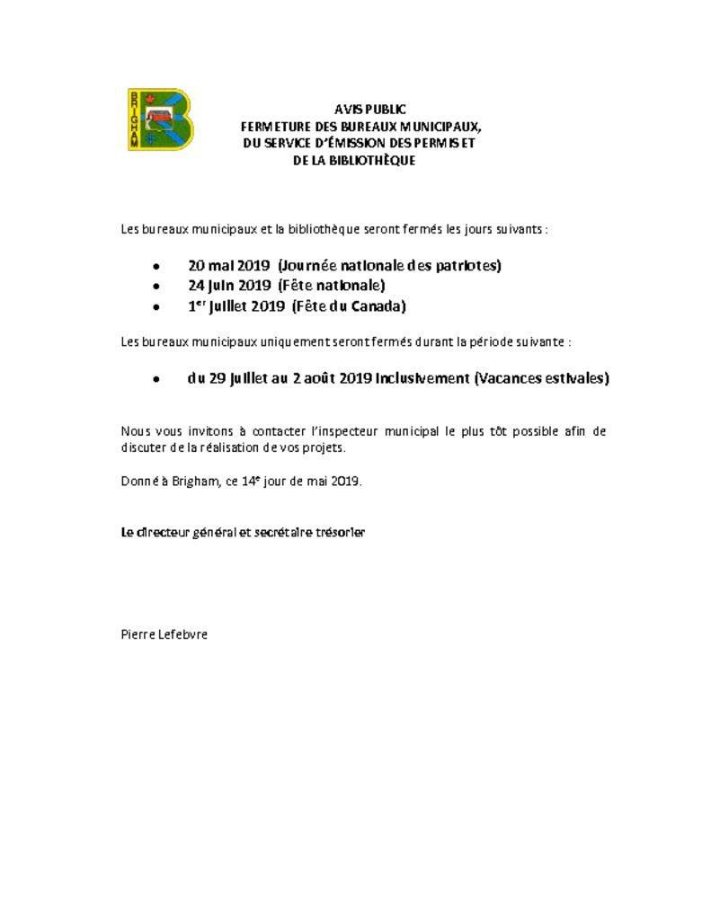 thumbnail of Avis public – Fermeture des bureaux – congés mai, juin, juillet 2019
