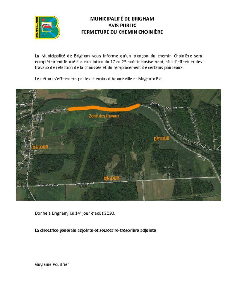 thumbnail of Avis public – Fermeture du chemin Choinère