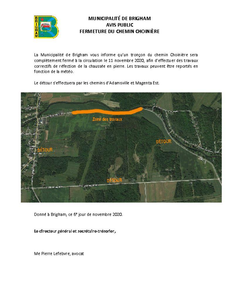 thumbnail of Avis public – Fermeture du chemin Choinère – 11 novembre 2020