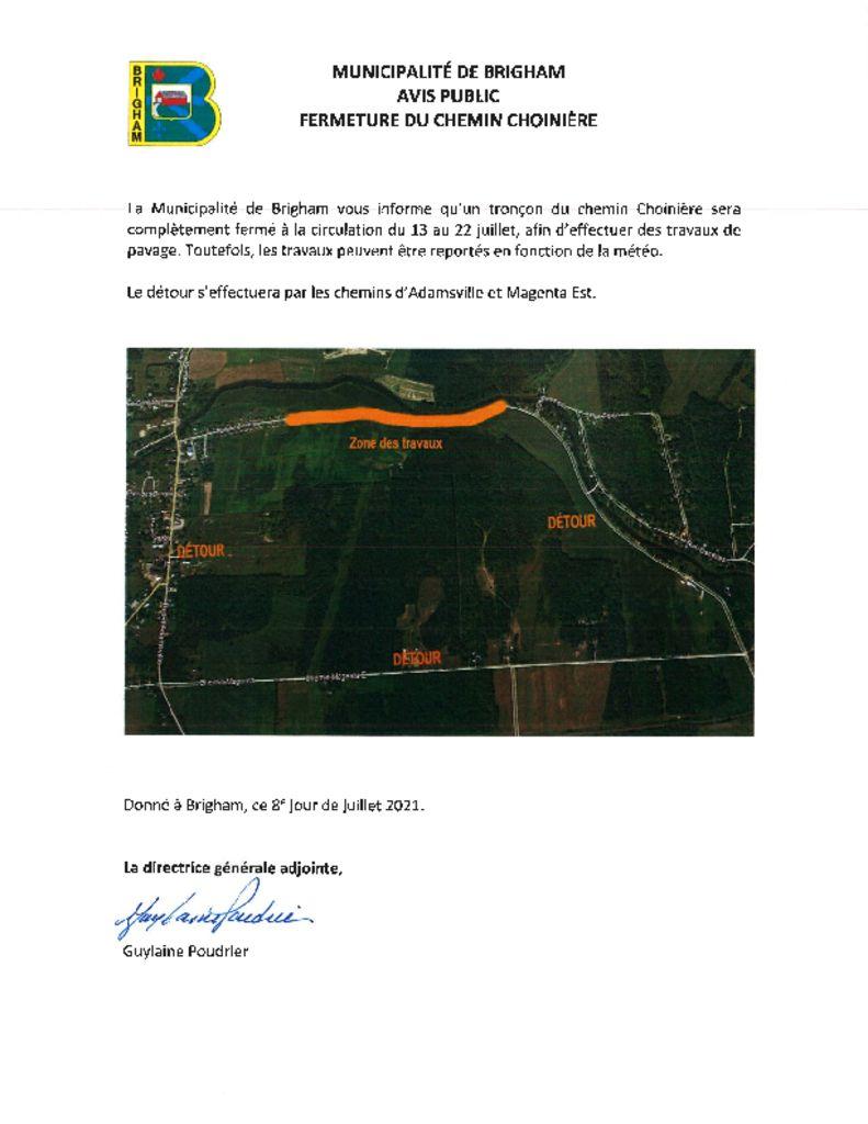 thumbnail of Avis public – Fermeture du chemin Choinère – pavage – 13 au 22 juillet
