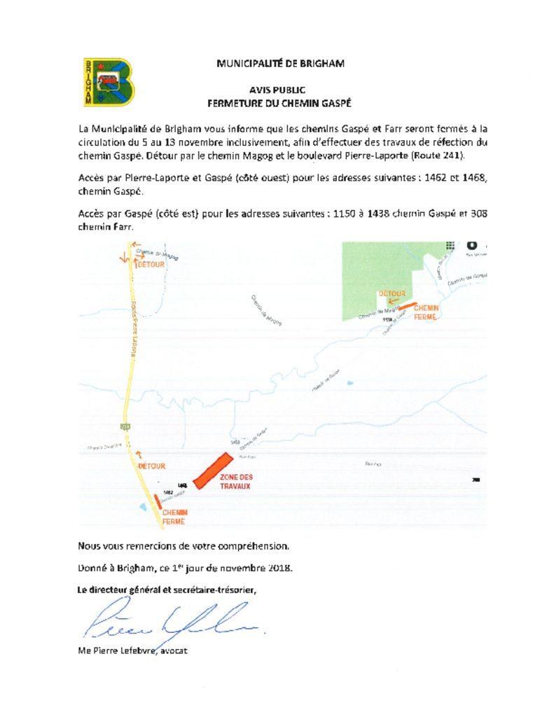 thumbnail of Avis public – Fermeture du chemin Gaspé