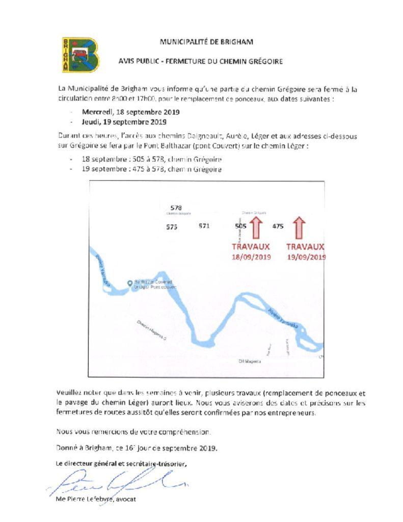thumbnail of Avis public – Fermeture du chemin Grégoire