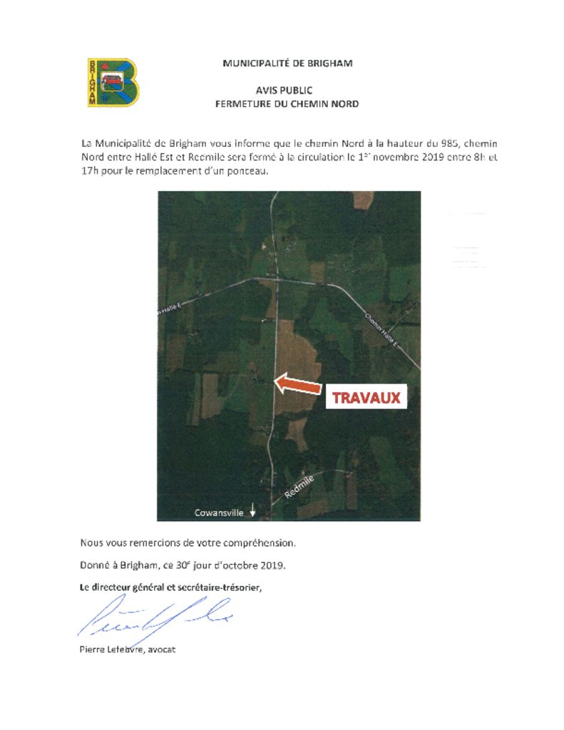 thumbnail of Avis public – Fermeture du chemin Nord