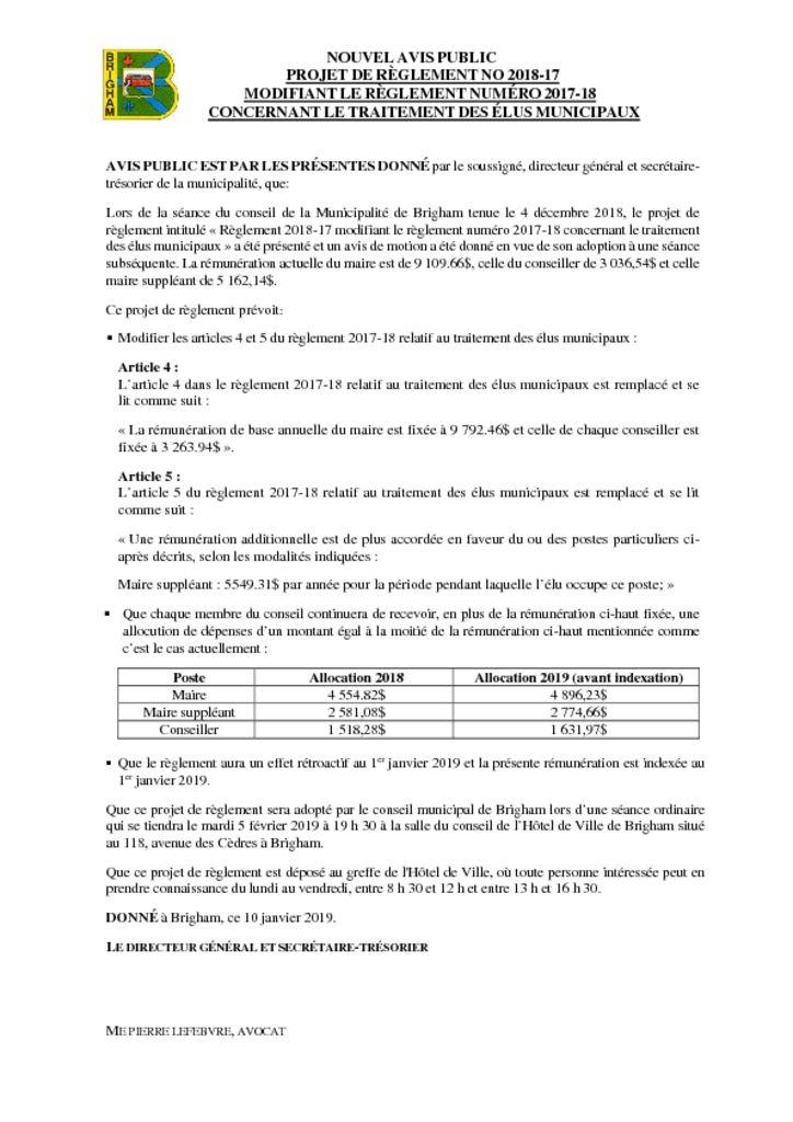 thumbnail of Avis public – Projet de règlement 2018-17 modifiant le règlement 2017-18 – Traitement des élus