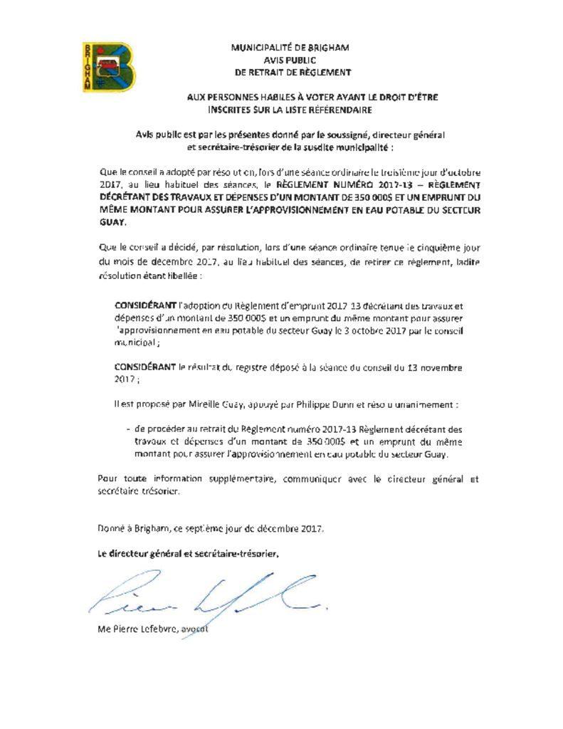 thumbnail of Avis public – Retrait règlement 2017-13