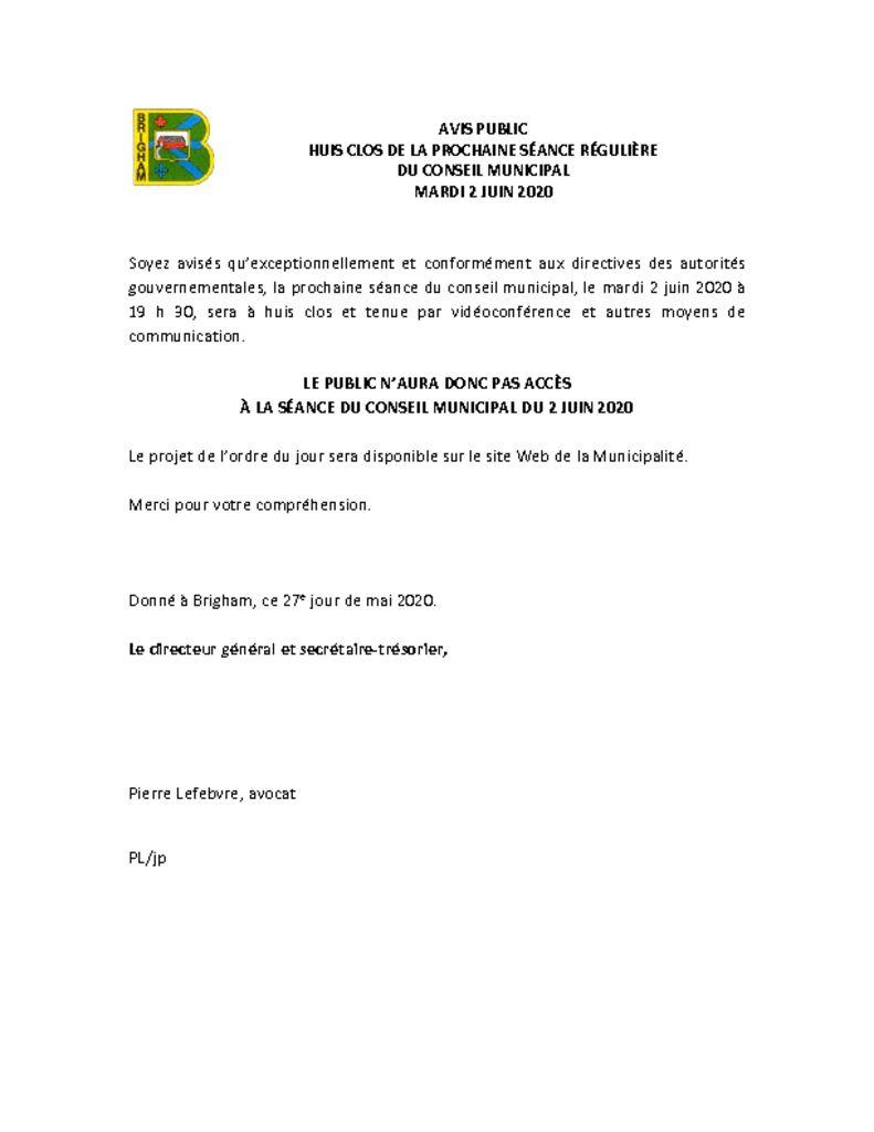 thumbnail of Avis public – Séance du conseil 2 juin 2020 – Huis clos