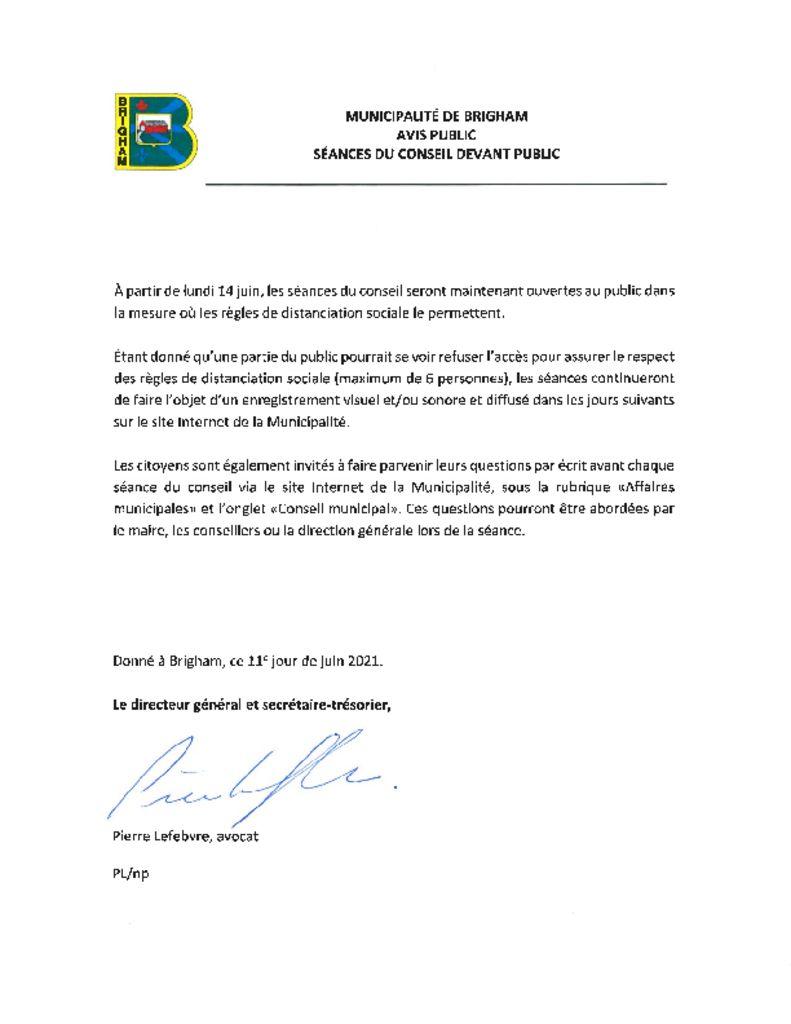 thumbnail of Avis public – Séance du conseil – Ouverte au public-COVID-19 (2021)
