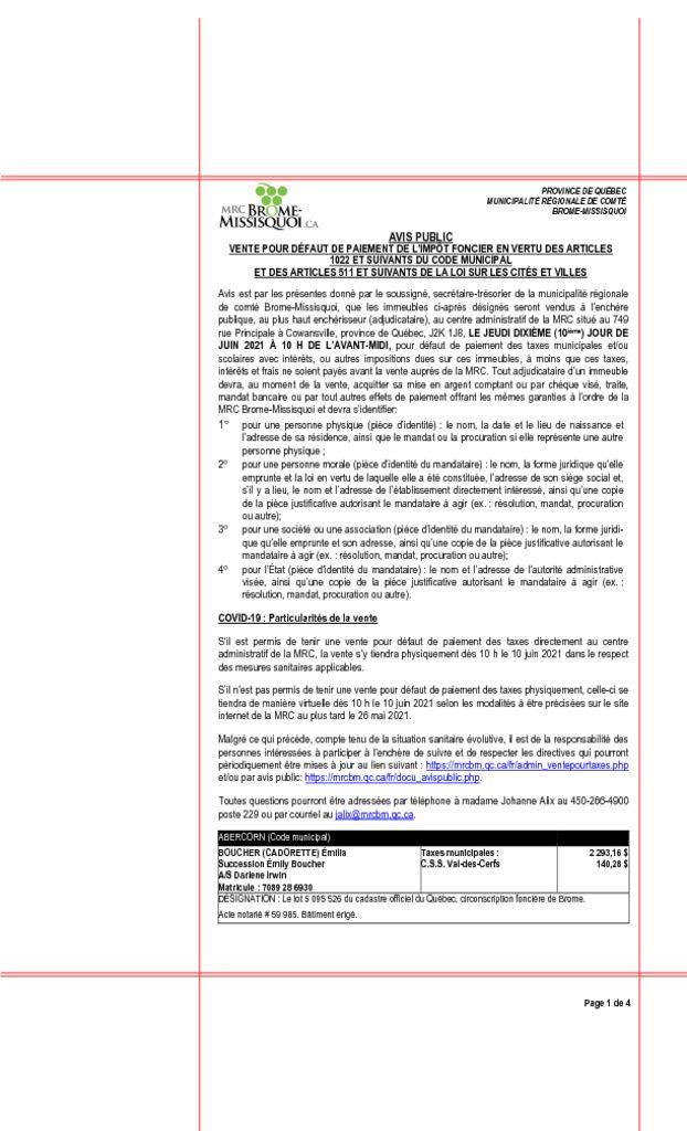 thumbnail of Avis public – Vente pour defaut de paiement de taxes 2021